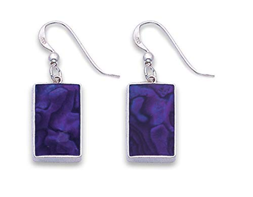 Heather Needham Sterling Silver Paua Shell Earrings - Dyed purple rectangle Earrings - SIZE: 13mm x 9mm plus wires. Gift boxed END OF LINE NEW LOWER PRICE 7853PP.