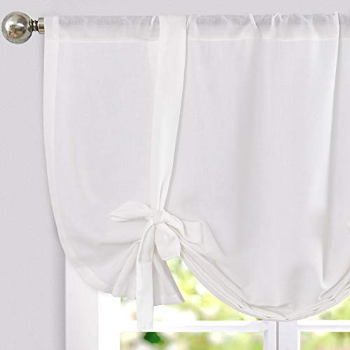 jinchan Tie Up Valance for Kitchen Living Room Linen Textured Adjustable Tie-up Curtains Light Filtering Rod Pocket Drapes 1 Panel 45 Inches White