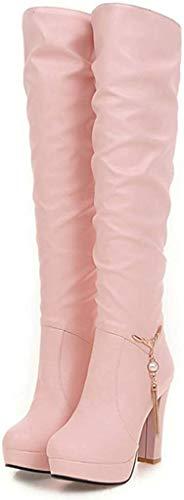 Morran Mode Stiefel Overknee mit Absatz Einfacher Stil Spitzschuhe Stiefeletten Schuhe mädchen Freizeit Schuhe Arbeitsstiefe(Rosa,39 EU)
