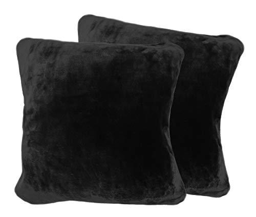 2er Pack Kissenhülle Premium Cashmere Feeling Kissenbezug 50x50 cm super Soft (schwarz)