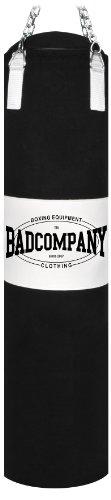 Bad Company Boxsack inkl. Heavy Duty Stahlkette I Canvas Punching Bag mit PVC-Target, gefüllt I 120 x 30 cm - Schwarz/Weiß