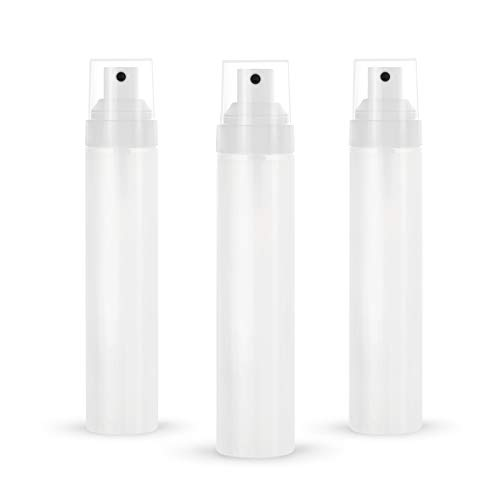 Longway 1.7 Oz (50ML) Empty Fine Mist Spray Bottle with Cap | Mini Travel Spray Bottles/Refillable Plastic Spray Bottles- BPA Free (Pack of 3, Frosted Translucent)