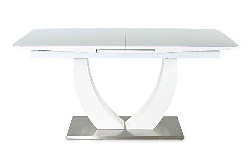 lifestyle4living Esstisch, Ausziehtisch, Säulentisch, Küchentisch, Esszimmertisch, Tisch, weiß, Hochglanz, Synchronauszug, Edelstahl, Weißglasplatte, 160 x 90 cm