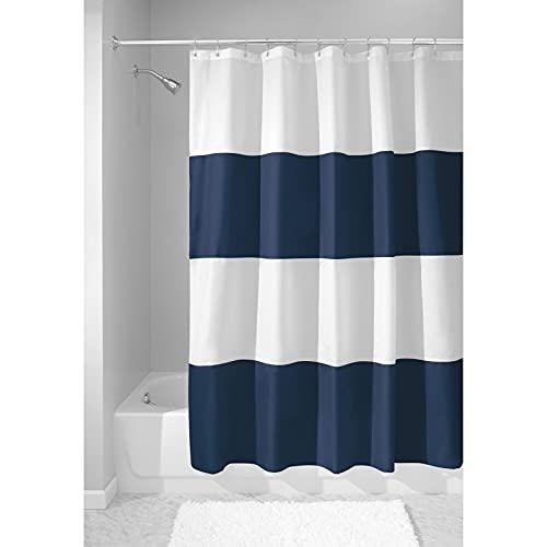 mDesign Cortina de Ducha con Estampado en Bandas horizontales - Accesorio de baño con Medidas de 183 cm x 183 cm - Cortinas de baño Durabilidad - Color: Azul Marino/Blanco