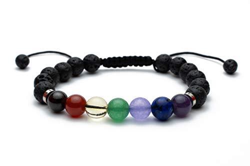 hellostone | 7 Chakra Bracelets for Women or Men | 8 mm Gemstone Crystal Bracelet | Spiritual Healing | Bangle Adjustable | Lava Rock Aromatherapy Jewelry