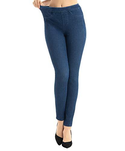 Jean Jeggings Leggings for Women High Waist, Denim Indigo L Classic Maternity Soft Elastic Stretchy Postpartum Pant with Pockets