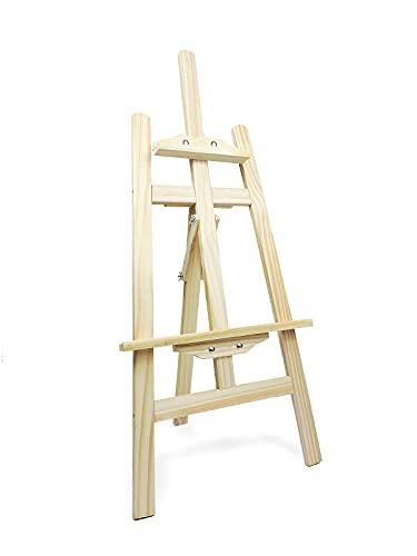 Caballete de madera para pintar ideal para soporte de lienzos pinturas óleo, acrílicas o exposición de cuadros (90CM)