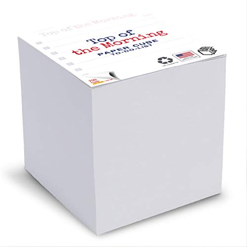 EARTHCUBE (Top of the Morning - To Do List) 3.5 Inch Note Cube (Not Sticky) Made in USA (Paper US or CAN) 100% Recycled 700 Tear-off Pages (Not Loose) 8-Item List Printed on Top Side of Each Sheet