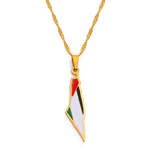 TUDUDU Palestina Collares Pendientes Color Oro Joyas Longitud 60Cm Cadena Delgada