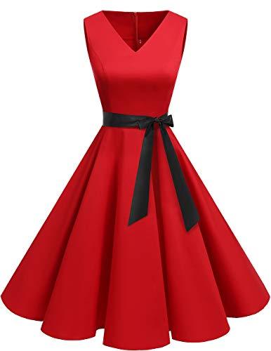 Bridesmay Donna Anni '50 Abiti Vintage V-Neck Retro Cocktail Audrey Vestito Red XL