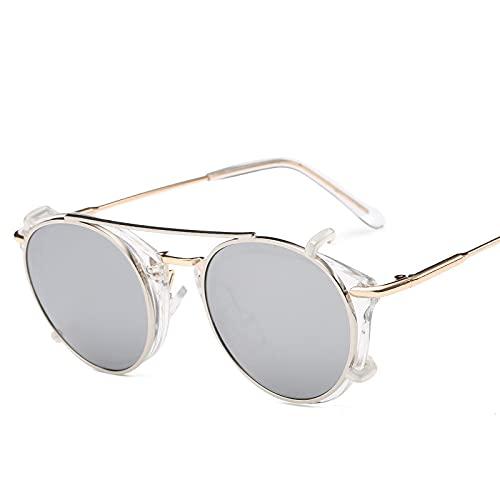 XINMAN Gafas De Doble Uso Personalizadas De Doble Capa, Gafas De Sol Retro con Montura Redonda, Tendencia De Moda Y Gafas De Sol A Prueba De Viento