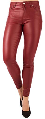 stylx Damen Lederhose Jeans Leder Leggings Lederleggings Hose in Lederoptik (Bordeauxrot, 40)