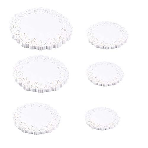STOBOK 140 unids Tapetes de papel de encaje blanco redondo tapete de la torta pastas de embalaje Manteles de papel para tortas Postres Horneado Invitación Display