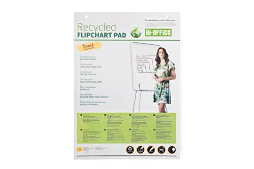 Bi-Office Earth - Bloc de Papel Reciclado para Pizarra Rotafolios, Euro, 40 Hojas por Bloc, 55 g/m², Paquete de 5 Bloques