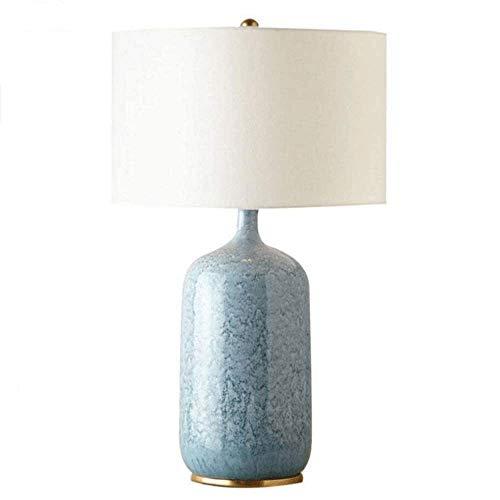 ZOUSHUAIDEDIAN Lámpara de mesa de cerámica, lámpara de escritorio para la cama para sala de estar, lámparas de mesita de noche con tablilla de tela de lino, adecuado para sala de estar, dormitorio, sa