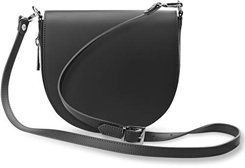halbrunde Leder - Damentasche Schultertasche Umhängetasche mit Klappe italienisches Design sehr elegant grau