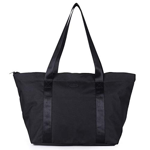 Lowest Price! Nylon Family Travel Tote Beach Bag with Zipper for Women, Teacher or Nurse (Black)