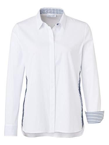 Just White Bluse Langarm Weiss mit blau Größe 54