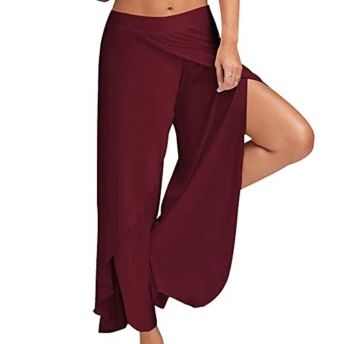 Bebling Pantalones de harén para Mujeres Pantalones de chándal de Playa Hippie Yoga de Corte Lateral Jogger Vino, XX-Large