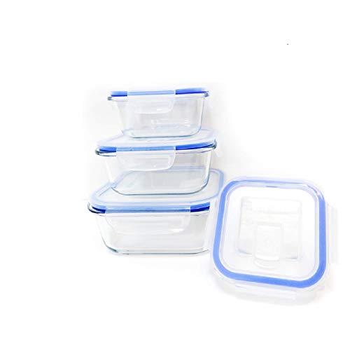 FIDON Taper vidrio Lotes 8 piezas (4 envase+4 tapas) Cuadrado recipiente vidrio hermeticos Tapper cristal cuadrado tamaños variados (Lote de 4 cuadrados)