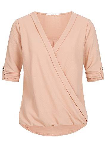 Hailys Damen Top 3/4 Arm Shirt Knotendetail vorne V-Neck dunkel rosa, Gr:L