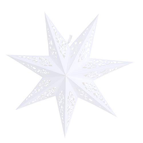 Vosarea papel de linterna de estrella 45 cm colgante festival de navidad boda fiesta de cumpleaños decoración del hogar ahueca hacia fuera los colgantes (blanco)