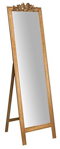 Biscottini Specchio Specchiera da Terra in Legno Finitura Oro Anticato (Oro, L50xPR3xH175 cm)