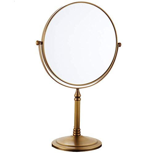 XYSQWZ Espejo De Maquillaje De Doble Cara - Espejo De Tocador De Maquillaje con Aumento De 3X / Espejo De Tocador De Cobre Redondo De Rotación 360 (Color: Oro Antiguo)