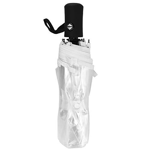 Paraguas transparente Portátil de moda Transparente Automático Tres pliegues Plegable Paraguas de lluvia para exteriores