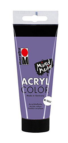 Marabu 12010050750 - Acryl Color, cremige Acrylfarbe auf Wasserbasis, schnell trocknend, lichtecht, zum Auftragen mit Pinsel und Schwamm auf Leinwand, Papier und Holz, 100 ml, metallic violett