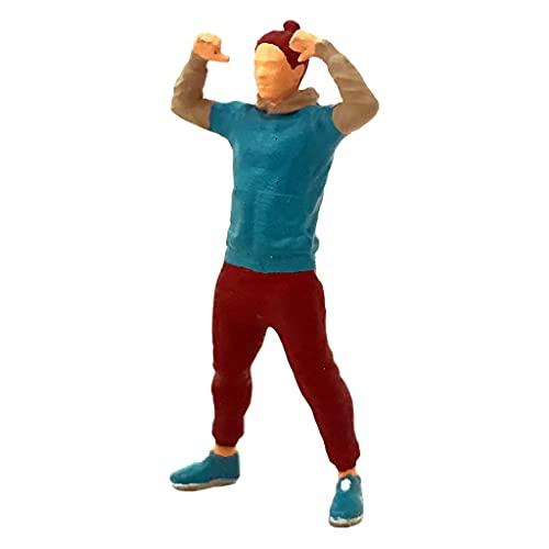 Sharplace Miniatura 1:64 película Personaje Diorama Deportes Fitness Mujer Hombre Figura Calle Tren Buliding Escenario de diseño para la decoración de - Fuerte Hombre Azul