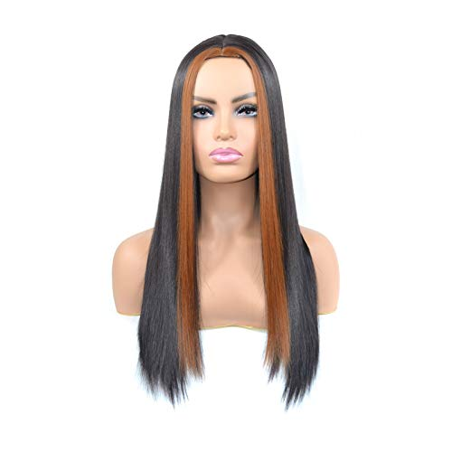 caihuashopping Wigs Hair Net Red Long Straight Hair Wig Middle Part Bleaching and Dyeing Light Brown Long Silky Straight Hair Wig for Daily Party Use Hair Extensions