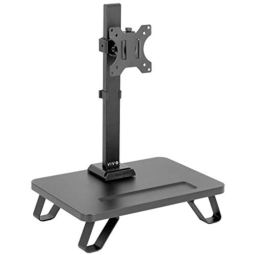VIVO Black Freestanding Single Monitor Stand for up to 32 inch Screens, Ergonomic Monitor Mount with 16 inch Wide Desktop Riser Storage Organizer Base, Fits VESA up to 100x100, STAND-V101SF