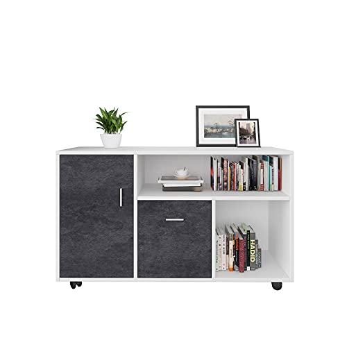 2-Drawer Wood File Cabinet with Lock, Mobile Lateral Filing Cabinet, Free Standing Printer Stand with Open Storage Shelves for Home Office (White)