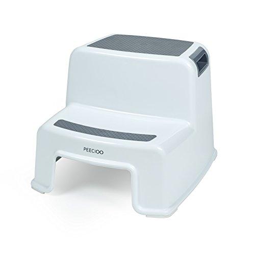 PEECIOO Premium Tritthocker für Kinder, anti-rutsch Trittschemel - Zweistufig, Hocker, Duschhocker, Trittleiter, Badhocker aus Kunststoff