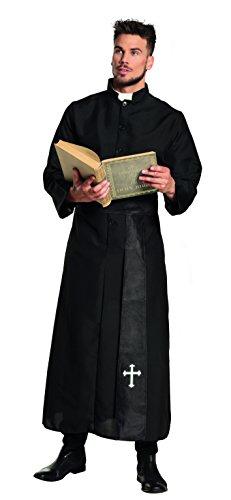 Boland 83531 - Erwachsenenkostüm Priester, Toga und Gürtel, Schwarz, Tunika, Heiliger, Kardinal, Pfarrer, Kirche, Motto Party, Karneval