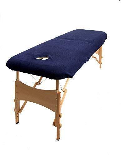 aztex Funda protectora para mesa de masaje, adecuada para salones, spas y terapeutas, con o sin orificio facial, azul marino - con orificio facial