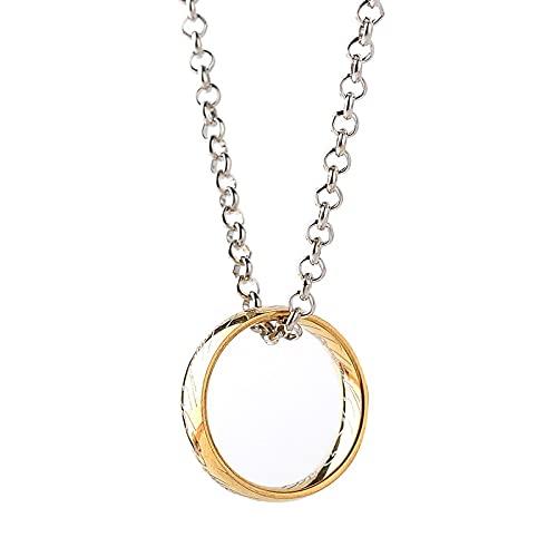 The Hobbit Demon Ring Ring King Collar Con Colgante De Acero Inoxidable Oro