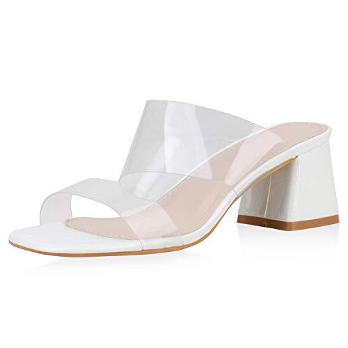 SCARPE VITA Damen Sandaletten Pantoletten Lack Transparente Schuhe Blockabsatz Abendschuhe Party High Heels Schlupfschuhe 188492 Weiss 40