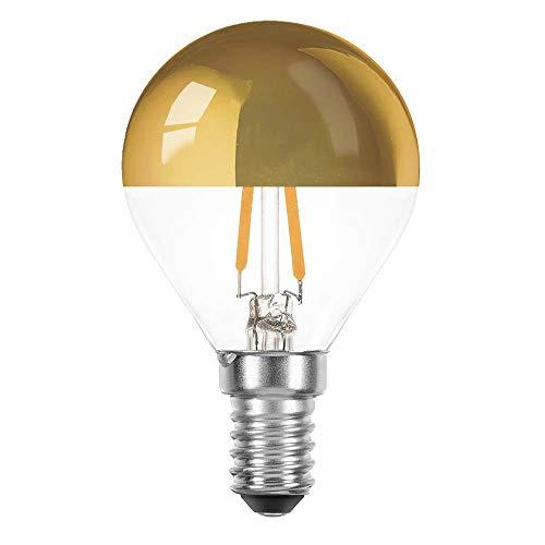 10 x LED Filament Tropfen 2 Watt = 25 Watt E14 Kopfspiegel Gold KVG P45 Glühfaden warmweiß 2700K Retrofit (gold, 10 x 2W ~ 25W)