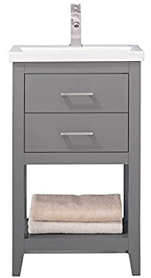 "LUCA Kitchen & Bath LC20FGP Dublin 20"" Bathroom Vanity Set in French Gray with Integrated Porcelain Top"