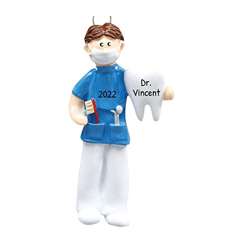 Personalized Dentist Christmas Tree Ornament 2020 - Brown Hair Man Medical Health Care Dental Surgeon Uniform Hospital Coworker New Job Brunette Doctor Oral Profession Year - Free Customization