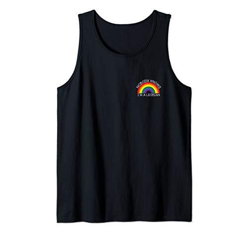 Nobody Knows I'm A Lesbian Pocket LGBT Rainbow Gay Pride Tank Top