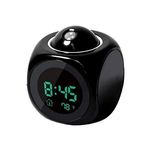 Creative Atención Proyección Digital Tiempo LCD Snooze Reloj Alarma de Campana Pantalla Retroiluminación LED Proyector Home Clock Temporizador (Color : Black)
