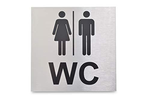 Targhetta per WC in alluminio anodizzato e spazzolato, elegante e elegante, 12 x 12 cm, superficie adesiva sul retro, targhetta per WC, toilette da uomo, toilette da donna