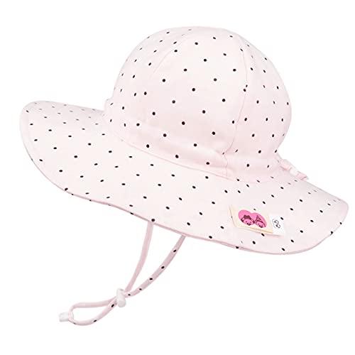 Foruhoo Mädchen Sonnenhüte UV Schutz, Verstellbarer Breite Krempe Sommermütze für Baby (50, Punkt Rosa)