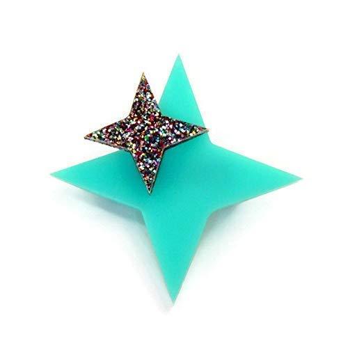 Aqua Starburst Sacramento Mall Brooch Retro and f Pin Glitter Star Rainbow 70% OFF Outlet