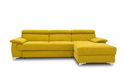 DOMO. collection Niria Ecksofa | Eckcouch mit Schlaffunktion und Rückenfunktion | Sofa L Form Couch, Schlafsofa, gelb, 271x167x78 cm