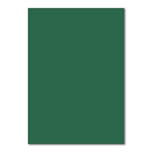 50x DIN A4 Papier Planobogen -Dunkelgrün - 110 g/m² - 21 x 29,7 cm - Bastelbogen Ton-Papier Fotokarton Bastel-Papier Ton-Karton - FarbenFroh®