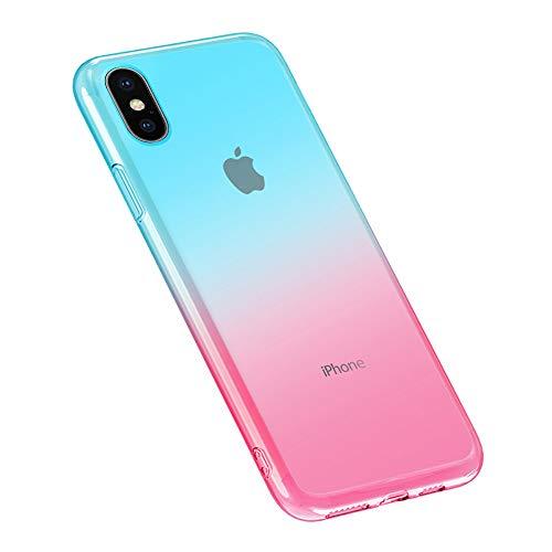 Oihxse Moda Lindo Cristal Case Compatible con Samsung Galaxy Note 10 Funda Silicona Gradiente de Color TPU Suave Carcasa Ultra-Fina Transparente Protectora Flexible Caso-Rosa Azul